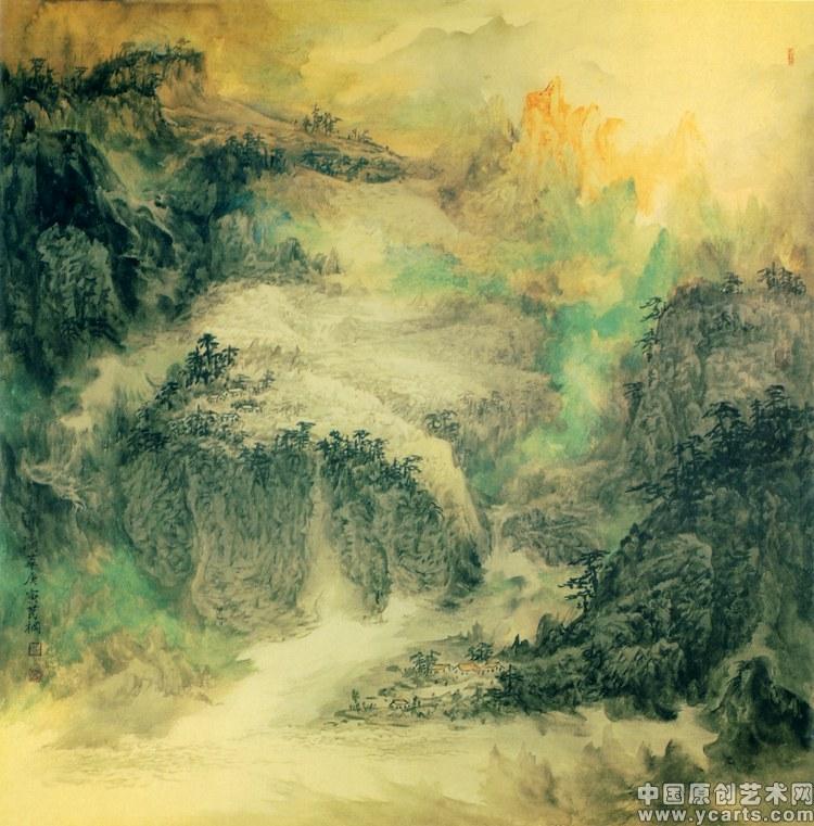 山川现代油画风景