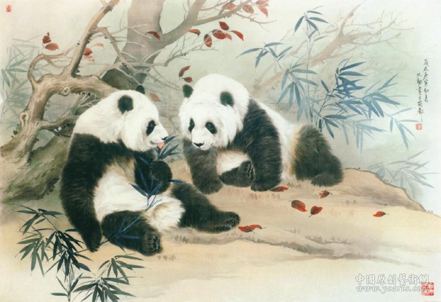 壁纸 大熊猫 动物 国画 900_617