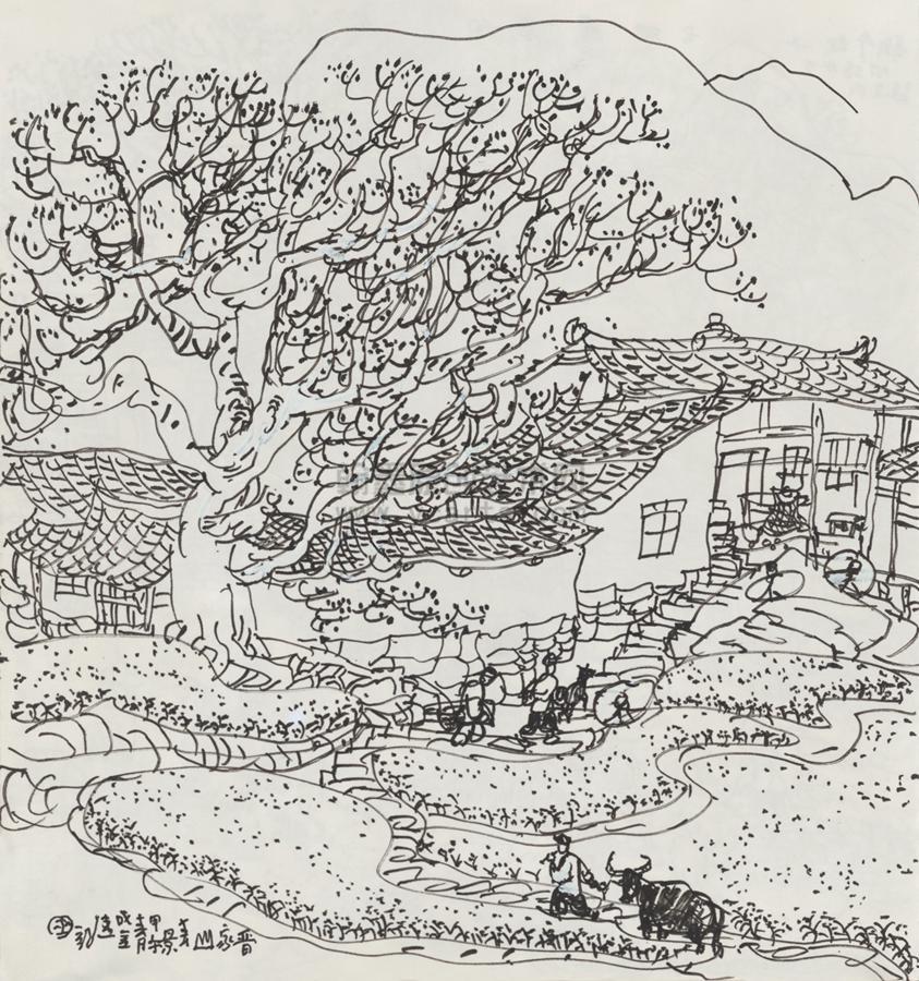春景彩铅手绘简笔画